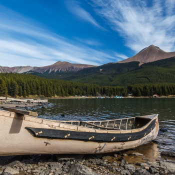 landscape, Canada, fall, Jasper national park, Alberta, Medicine Lake