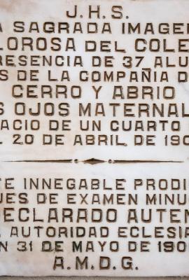 DSC_0446 Placa en Capilla del Milagro de la Dolorosa