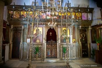 Retablo del Altar, en Iglesia Ortodoxa en Isla de Santorini, Grecia.