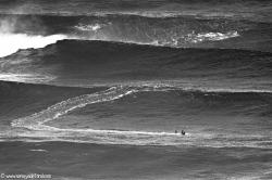 Surfistas, desafiando a las condiciones.