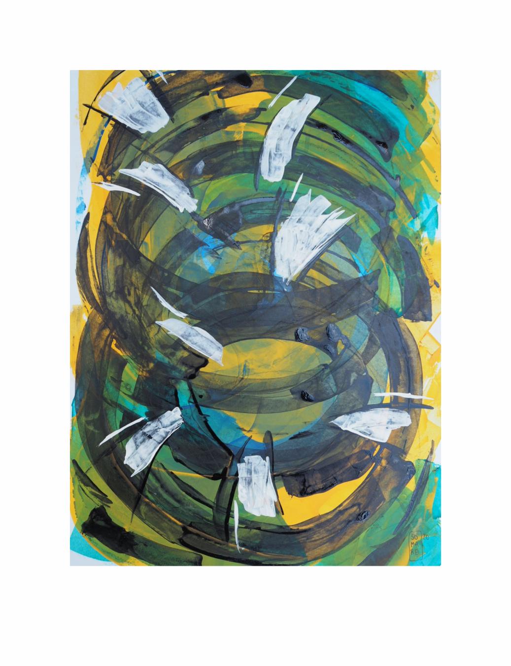 "FLUJO INTERRUMPIDO. Serie ""Maternaje"" 21 x 29,7cm Acrílico sobre papel.Obra única - Maternaje - mARTEnidades"