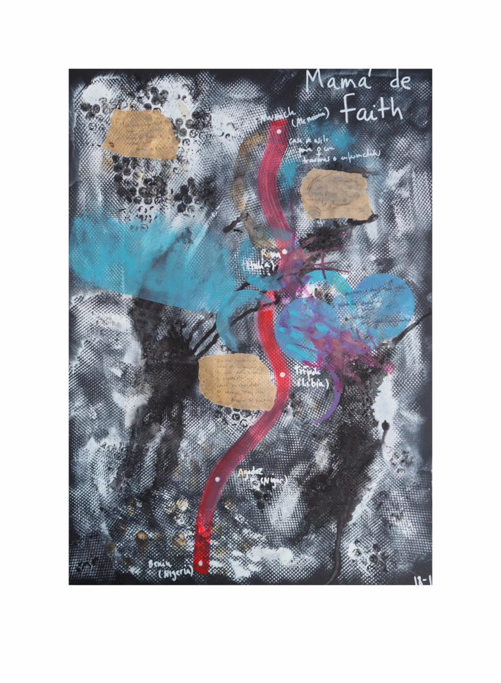"""Mamá de Faith.  Serie """"Madres en redes de trata"""" 42 x 59,4 cm Mixta (acrílico y collage) sobre papel.Obra original - Madres en redes de trata - sonia m.requejo, Artista visual"""