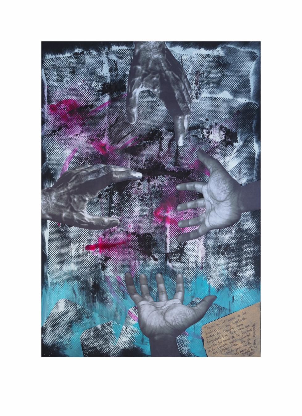 """Manos de hombre. Serie """"Madres en redes de trata"""" 42 x 59,4 cm Mixta (acrílico y collage) sobre papel.Obra original - Madres en redes de trata - sonia m.requejo, Artista visual"""