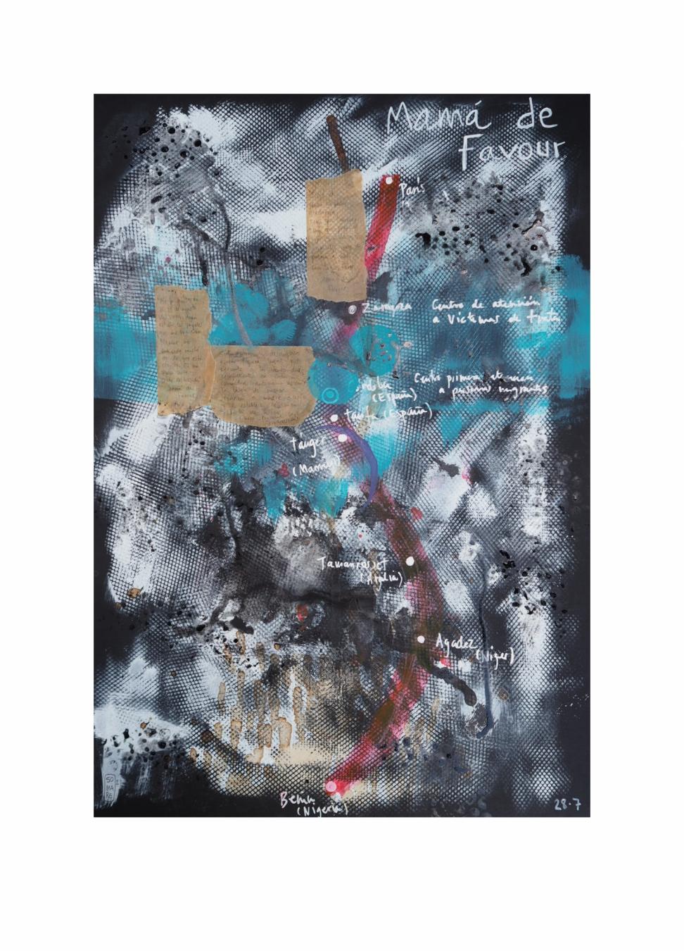 "Mamá de Favour.  Serie ""Madres en redes de trata"" 42 x 59,4 cm Mixta (acrílico y collage) sobre papel.Obra original - Madres en redes de trata - sonia m.requejo, Artista visual"