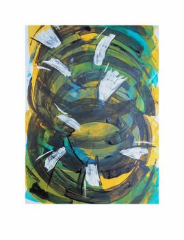 "FLUJO INTERRUMPIDO. Serie ""Maternaje"" 21 x 29,7cm Acrílico sobre papel.Obra única"