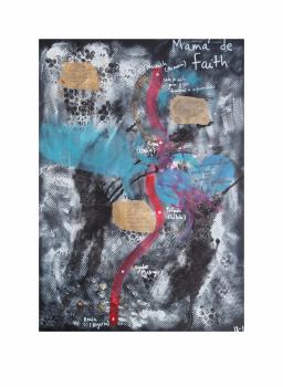 "Mamá de Faith.  Serie ""Madres en redes de trata"" 42 x 59,4 cm Mixta (acrílico y collage) sobre papel.Obra original"