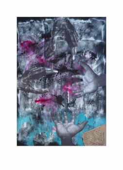 """Manos de hombre. Serie """"Madres en redes de trata"""" 42 x 59,4 cm Mixta (acrílico y collage) sobre papel.Obra original"""