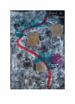 """Mamá de Prince.  Serie """"Madres en redes de trata"""" 42 x 59,4 cm Mixta (acrílico y collage) sobre papel.Obra original"""