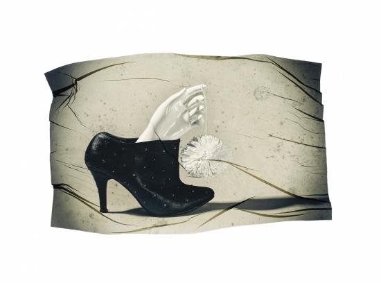 transferencia de emulsion con zapato y mano de maniqui