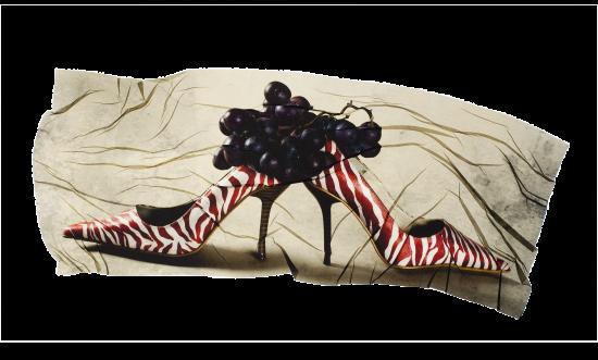 transferencia de emulsion de racimo de uvas sobre zapatos de tacon