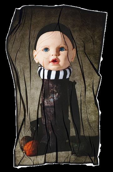 transferencia de emulsion de cabeza de muñeco con bufanda de rayas