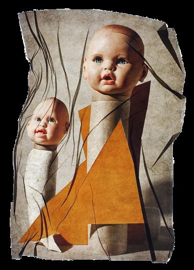 transferencia de emulsion de dos cabezas de muñeco con laminas amarillas