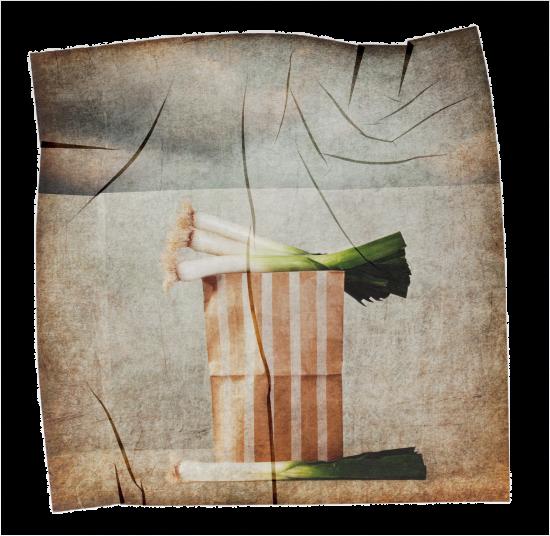 transferencia de emulsion de puerros sobre bolsa de rayas