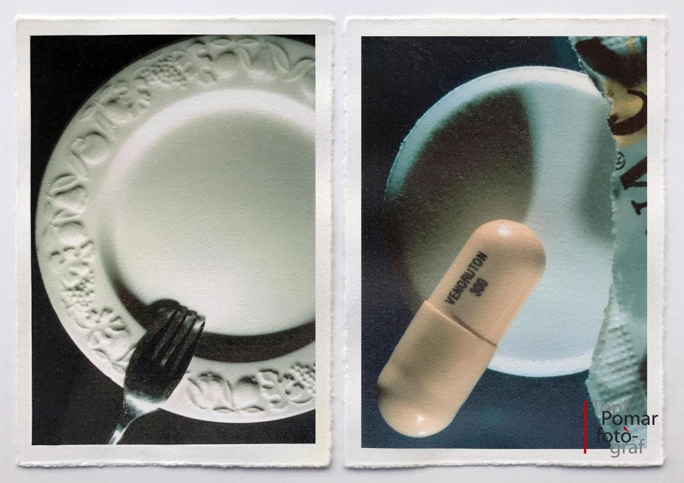 Ç - Plat blanc amb forquilla   ç - Aspirina C amb càpsula groga - Alfabet - Toni Pomar. Alfabet