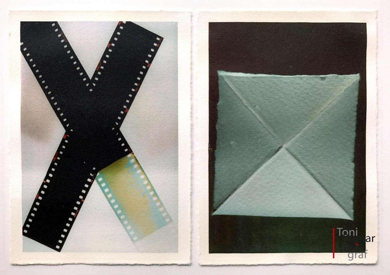 X - Dos trossos de pel·licula fotogràfica | x - Cartolina amb dos doblecs - Alfabet - Toni Pomar. Alfabet