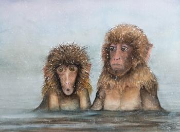 Monos japoneses - 41x31cm