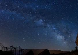 Pano of Milky Way and Rock of the Cross. Sierras de Béjar y Francia Biosphere Reserve