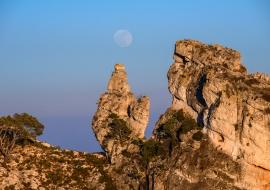 Luna llena en Lo Gall. Serra de Vandellòs
