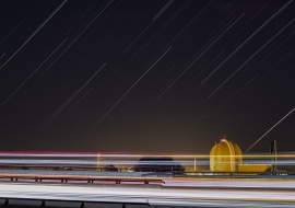 Startrails and Vandellòs II Nuclear Power Plant. Nuclear energy