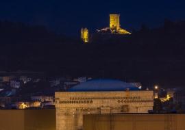 Castle at Ascó village an Ascó Nuclear Power Plant. Nuclear energy