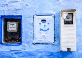 Blue light counters and blue smile. Electric energy and positive attitude. Morocco
