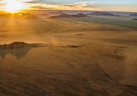 Sunrise on the Namib desert, Namibia