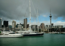 Skyline desde Viaduct Harbour, Auckland