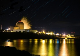 Vandellòs II Nuclear Power Plant and water steam at night