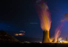 Ascó Nuclear Power Plant at stormy night