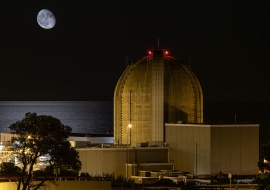 Vandellòs II Nuclear Power Plant and the Moon over Mediterranean Sea