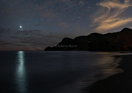 Venus and his reflection with shooting star. Cabo de Gata