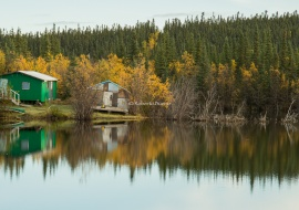 Cabins at Peel River Crossing. Fort McPherson