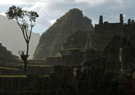 Machu Picchu under a tropical storm