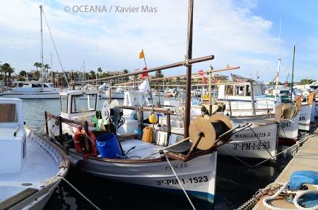 Flota artesanal. Colònia de Sant Jordi, Mallorca, islas Baleares, España. Actos para apoyar la ampliación del Parque de Cabrera. Octubre 2013.