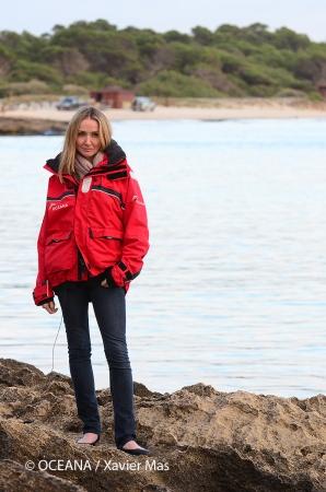 Alexandra Cousteau apoyando la ampliación del Parque de Cabrera. Colònia de Sant Jordi, Mallorca, Islas Baleares, España. Octubre 2013.